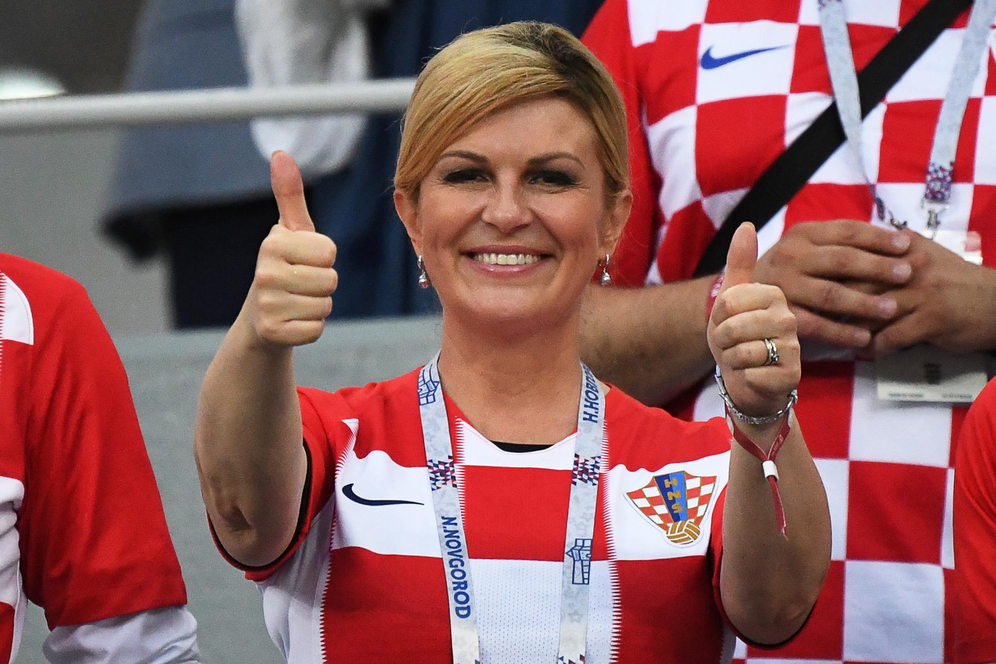 La presidenta de Croacia, Kolinda Grabar-Kitarovic, durante la Copa del Mundo en Rusia