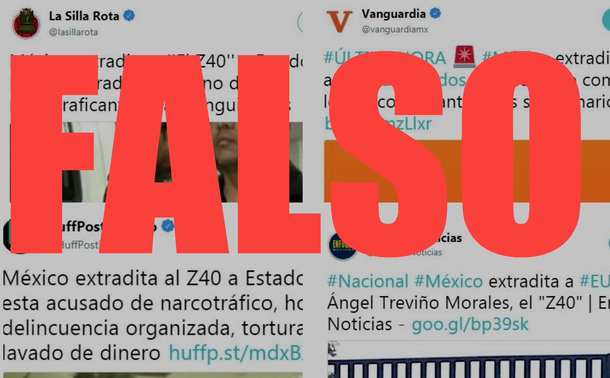 """Collage de capturas de pantalla del 19 de julio de 2018 de algunos de los tuits a través de los cuales se propagó la """"noticia"""" sobre la extradición del capo mexicano."""