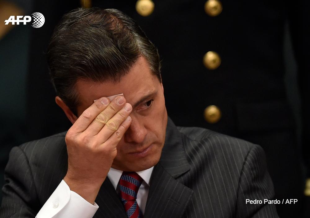 El presidente de México, Enrique Peña Nieto, durante la presentación del informe anual 2017 de la Comisión Nacional de Derechos Humanos (CNDH).