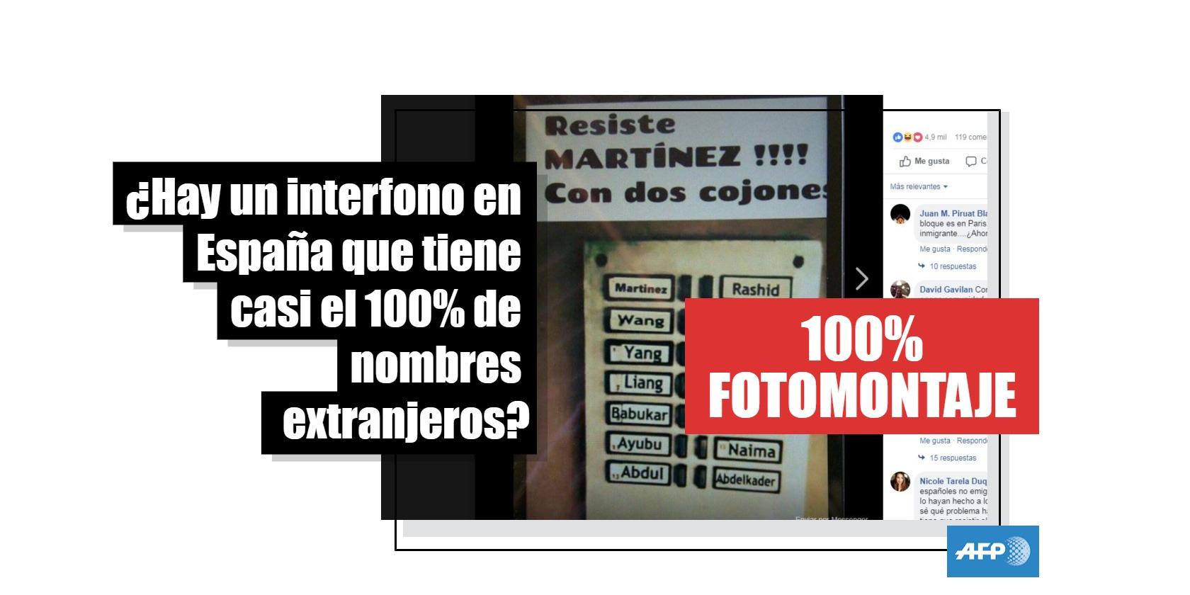 """Captura de pantalla de la publicación en español que retoma la imagen del interfono con supuestos """"apellidos extranjeros"""""""