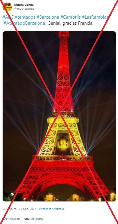 La Torre Eiffel Apagó Sus Luces Tras Los Atentados De Barcelona En 2017 No Se Iluminó Con La Bandera De España Factual